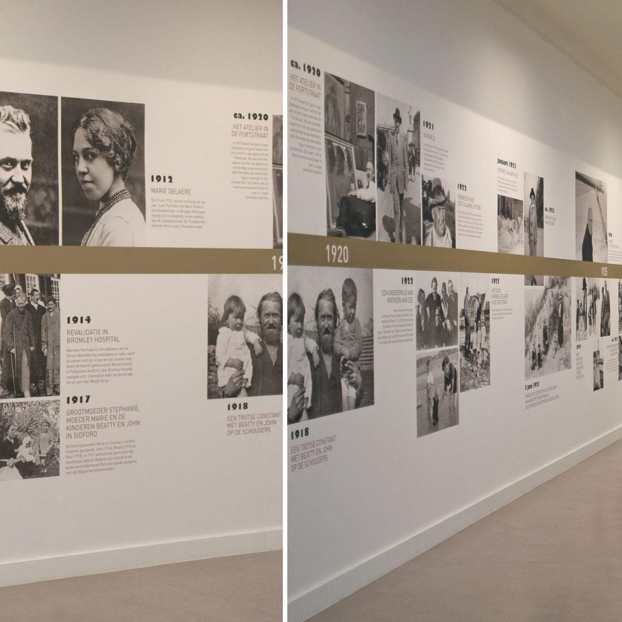 Permeke timeline, scannen foto's + afdrukken en plaatsen scenografie, © Permekemuseum