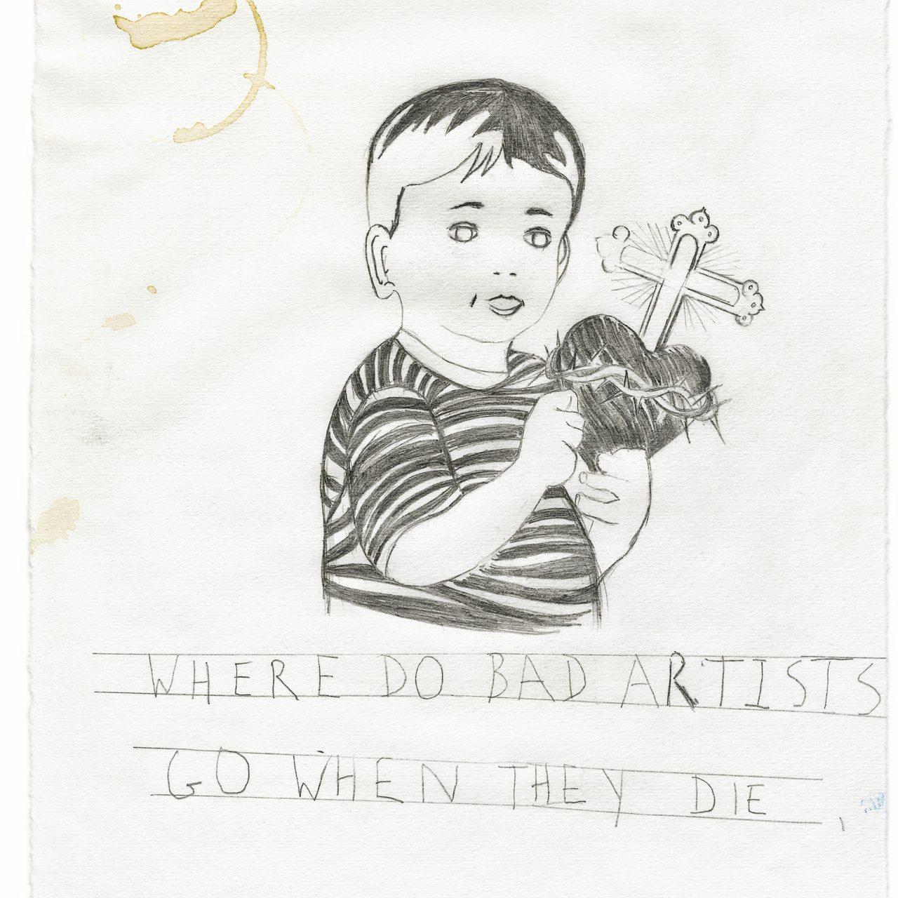 scan van tekening, potlood en tape op papier, © Peter Van Ammel