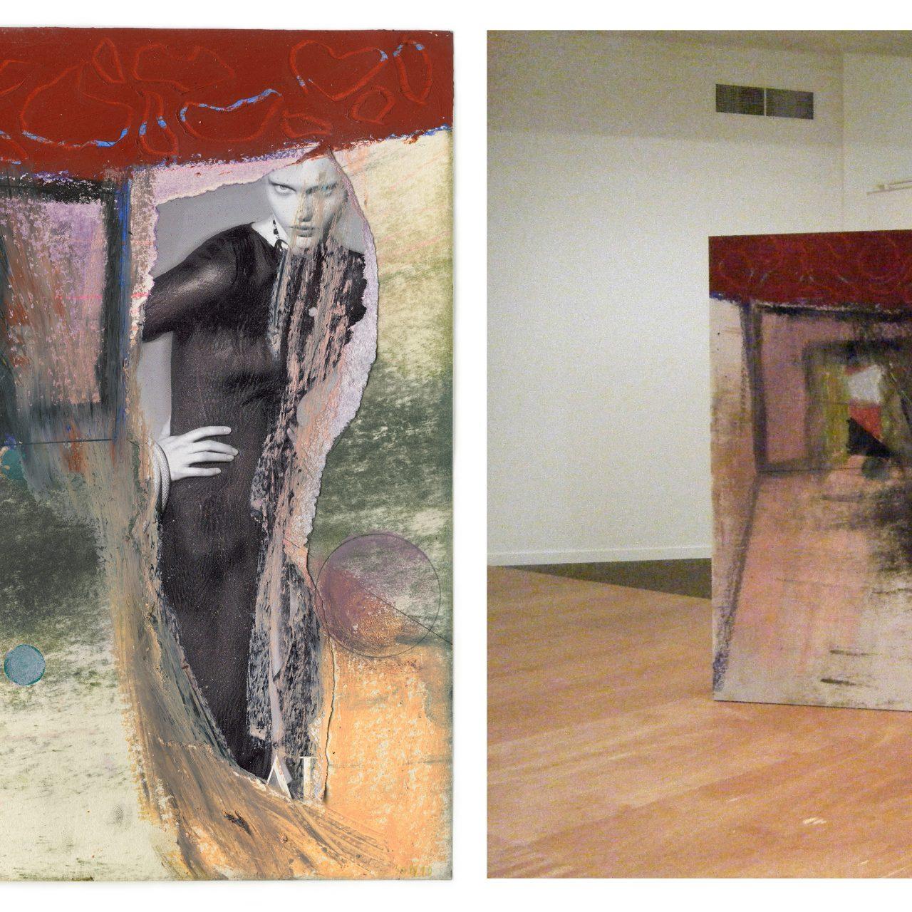 links: scan van tekening en collage op papier, rechts: scan verwerkt in scenografie, © Anne-Mie Van Kerckhoven